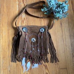 Boho Hippie Fringe & Feather Purse